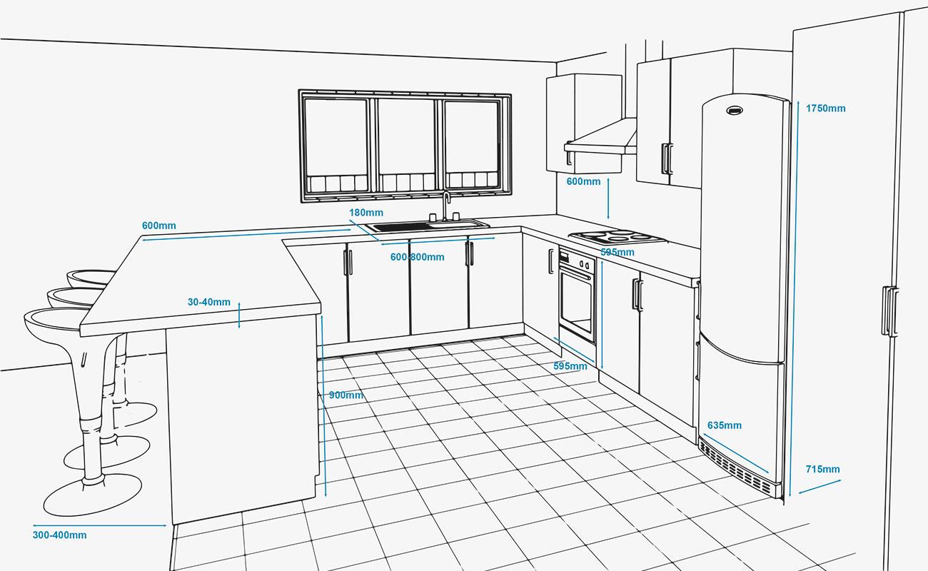 Kết quả hình ảnh cho hình ảnh kích thước bếp dưới
